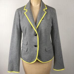 Gap The Academy Blazer Jacket Gray w Yellow Trim